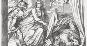 Jael shows Barak Sisera dead